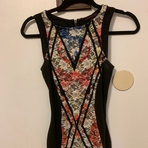 lace colorful bodycon dress